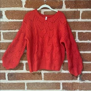 Never worn! Oversized bell sleeve red knit sweater